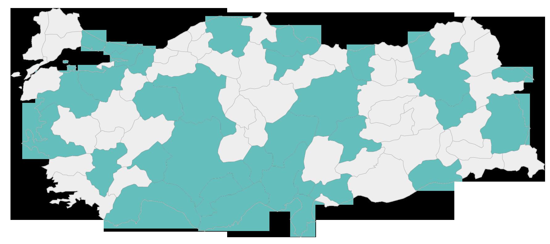 Türkiye haritası üzerinde Anlatan Eller Dijital Okulu'na üye olan kişilerin şehirleri koyu renkte belirtilmiştir.